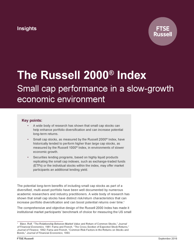 The Russell 2000 Index: Small cap performance in a slow