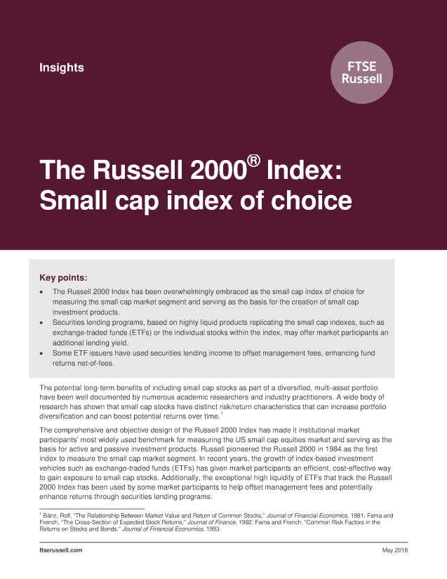 The Russell 2000 Index: Small cap index of choice