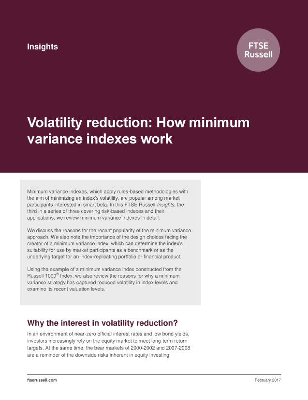 Volatility reduction: How minimum variance indexes work
